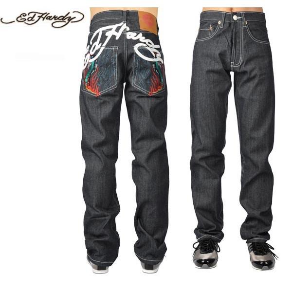 Ed Hardy Jeans Flame Cobra Blue Denim For Men