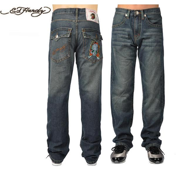 Ed Hardy Jeans Flame Skull Blue Denim For Men