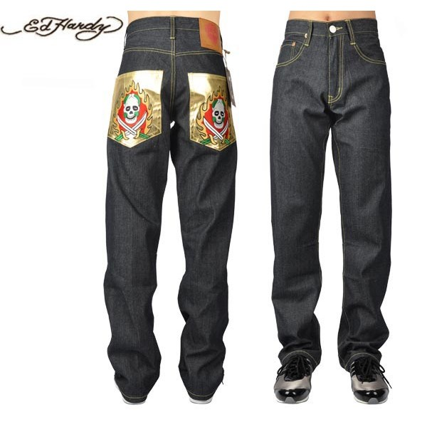 Ed Hardy Jeans Flame Skull Gold Pocket Denim For Men
