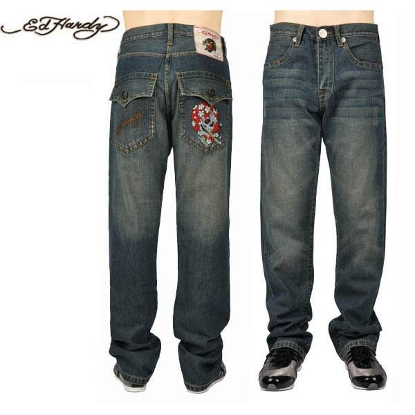 Ed Hardy Jeans Flower Skull Blue Denim For Men