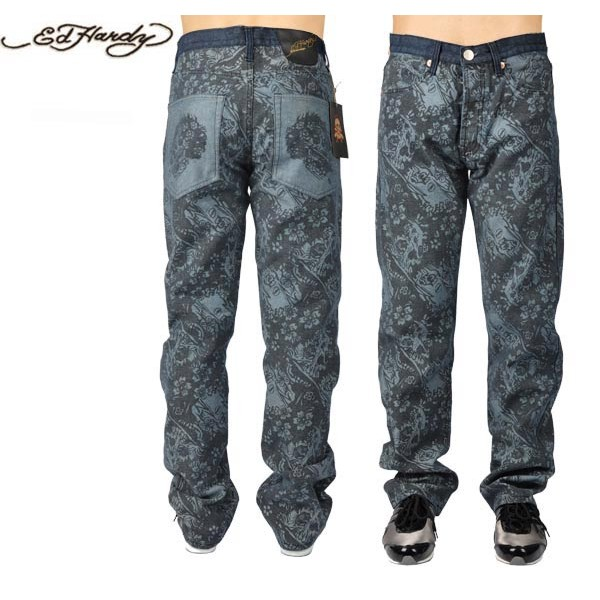 Ed Hardy Jeans Flower Skull Denim For Men