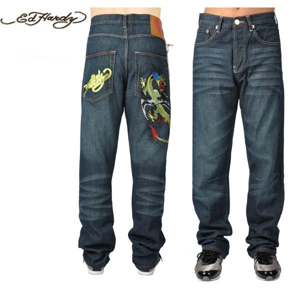 Ed Hardy Jeans Gold China Dragon Blue Denim For Men