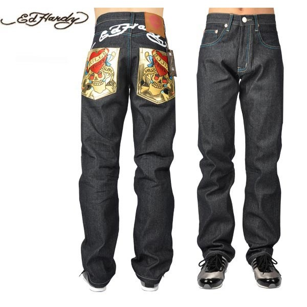Ed Hardy Jeans Love Kill Slowly Gold Pocket Denim For Men
