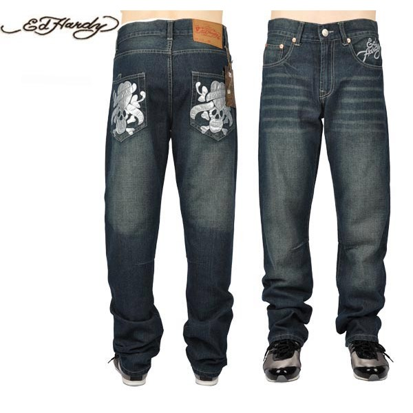 Ed Hardy Jeans Love Kill Slowly Silver Denim For Men
