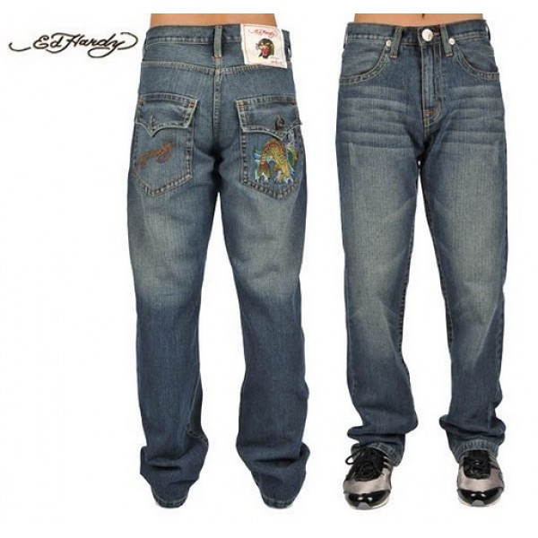 Ed Hardy Jeans Mermaid Blue Denim For Men