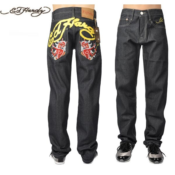 Ed Hardy Jeans Mermaid Devil Black Denim For Men