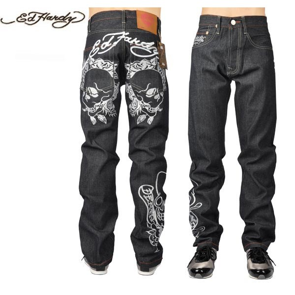 Ed Hardy Jeans Print Skull White Black Denim For Men