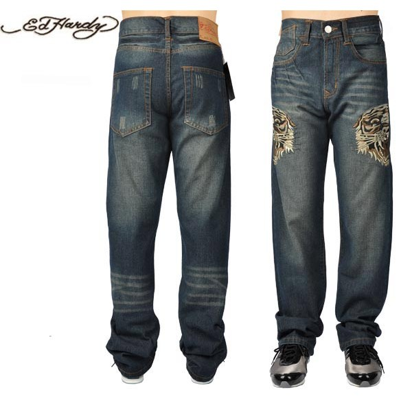 Ed Hardy Jeans Retro Tiger Blue Denim For Men