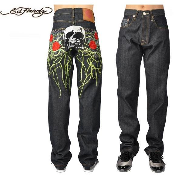 Ed Hardy Jeans Rosaceae Skull Denim For Men