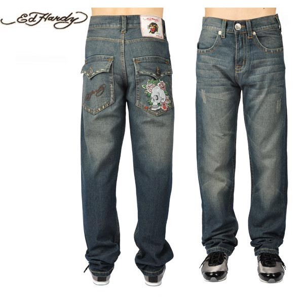 Ed Hardy Jeans Skull And Rose Blue Denim For Men