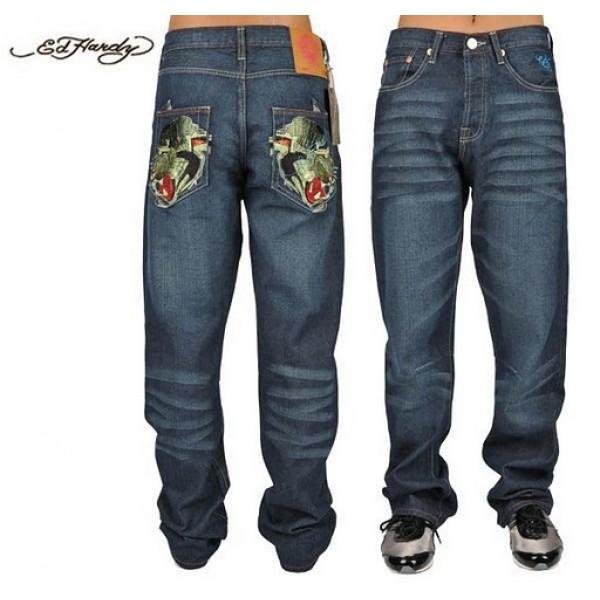 Ed Hardy Jeans Symmetric Leopard Gold Denim For Men