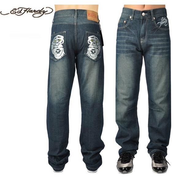 Ed Hardy Jeans Symmetric Silver Tiger Denim For Men