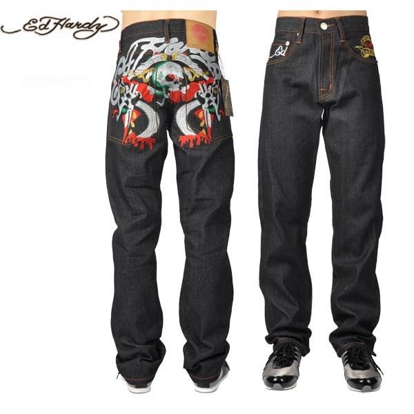 Ed Hardy Jeans Symmetric Skull Denim For Men