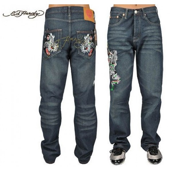 Ed Hardy Jeans Tiger And Leopard Denim For Men