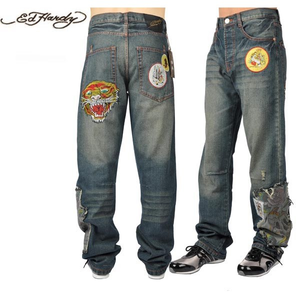 Ed Hardy Jeans Tiger Broken Blue Denim For Men