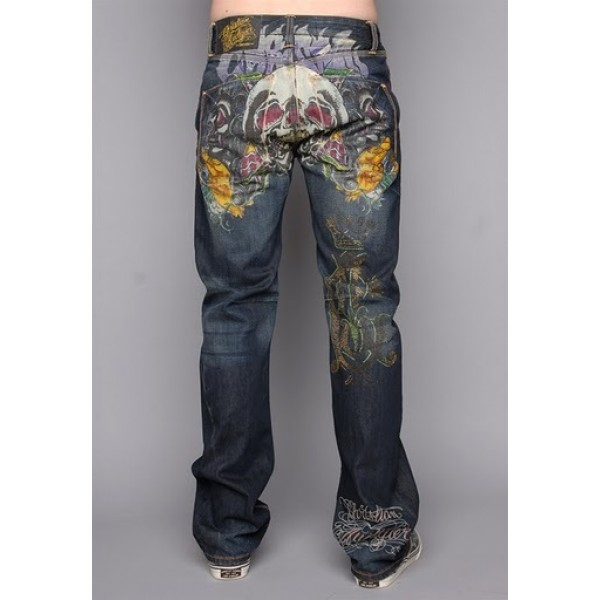 Mens Ed Hardy CA Jeans Tattoo Shop Skull