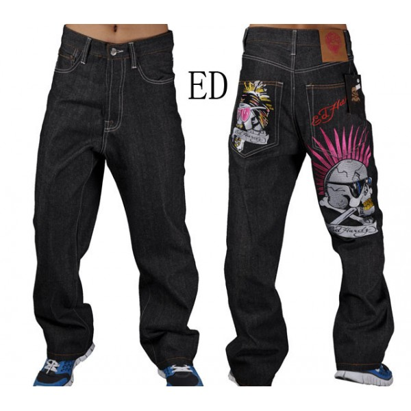 Punk Skull Ed Hardy Clearance Jeans For Men