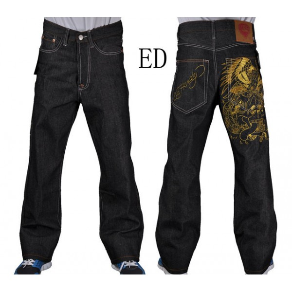 Shop Plus Size Ed Hardy Mens Jeans Gold Eagle