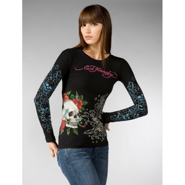Black Don Ed Hardy Long Sleeve For Ladies US