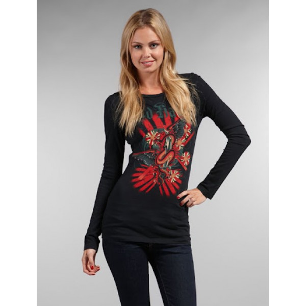Black Long Sleeve Ed Hardy Cheap For Ladies UK
