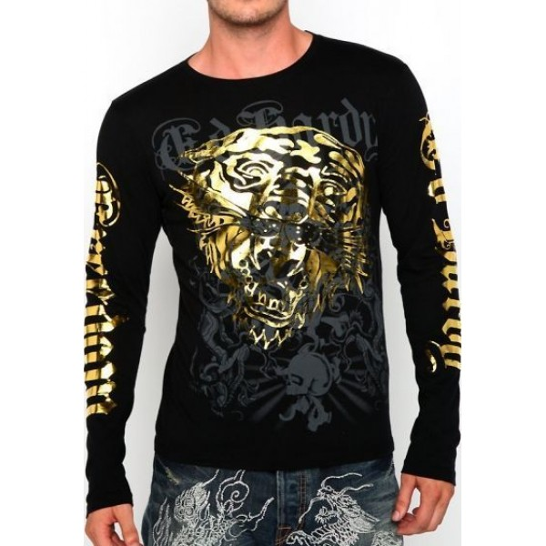 Black Long Sleeve Men Ed Hardy Tiger Prints Website