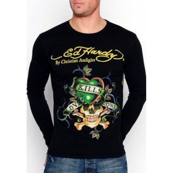 Black Original Long Sleeve Men Ed Hardy Sale LKS