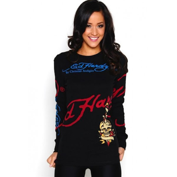 Black Womens Ed Hardy Long T Shirt Shop London