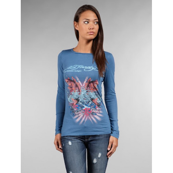 Blue Pictures Of Ed Hardy Womens Long Sleeve
