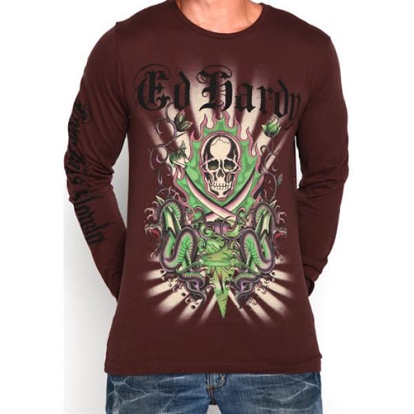 Brown Men Ed Hardys Long Sleeve UK Shop Skull