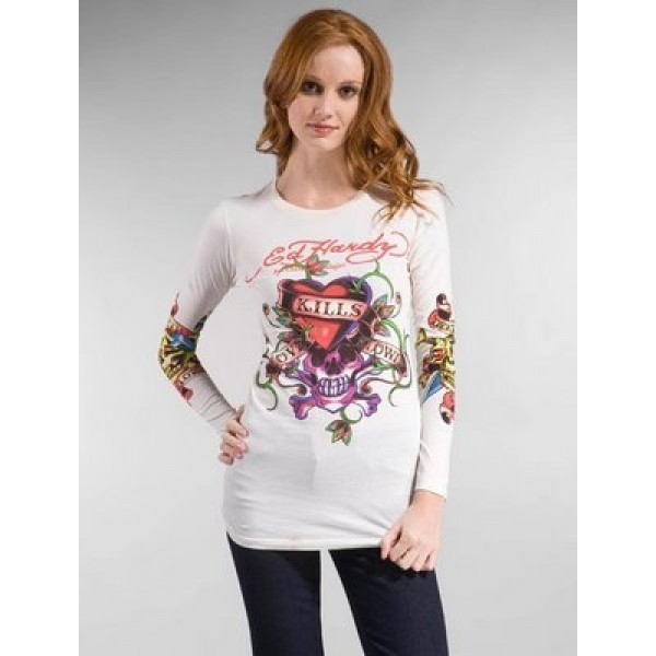 Buy Long T Shirt Ed Hardy For Women White Wholesale
