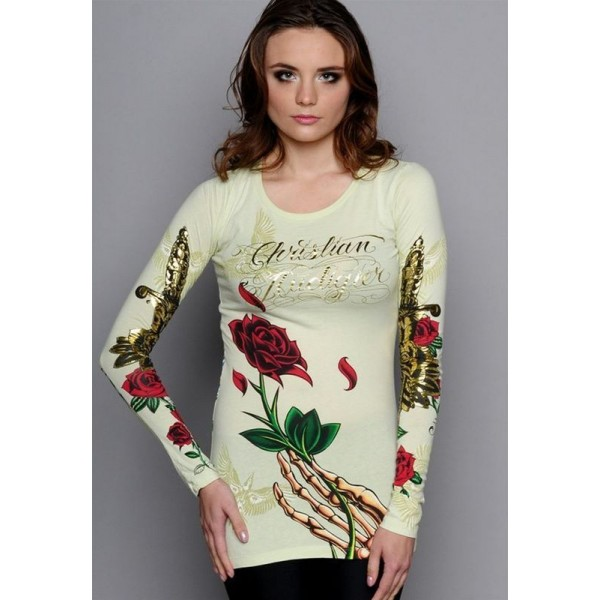 Christian Audigier Ed Hardy Long Sleeve Yellow For Women