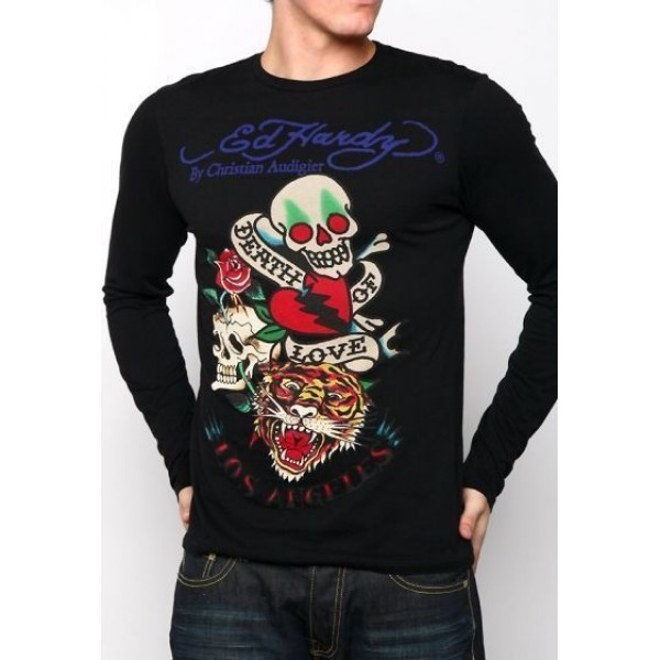 DOL Don Long Sleeve Men Ed Hardys Tattoos Black