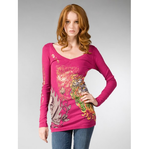 Don Ed Hardy Clearance Long T Shirt Rose Red Womens