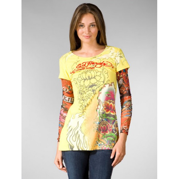 Don Ed Hardy Designs Ladies Long T Shirt Yellow