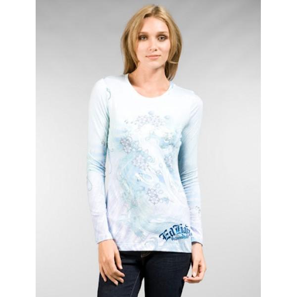 Don Ed Hardy Fashion Womens Long T Shirt Blue
