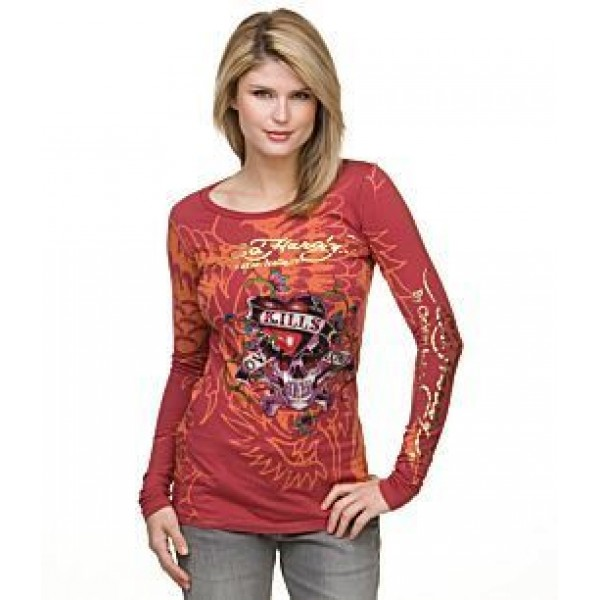 Don Ed Hardy Long T Shirt Red For Women Tattoos