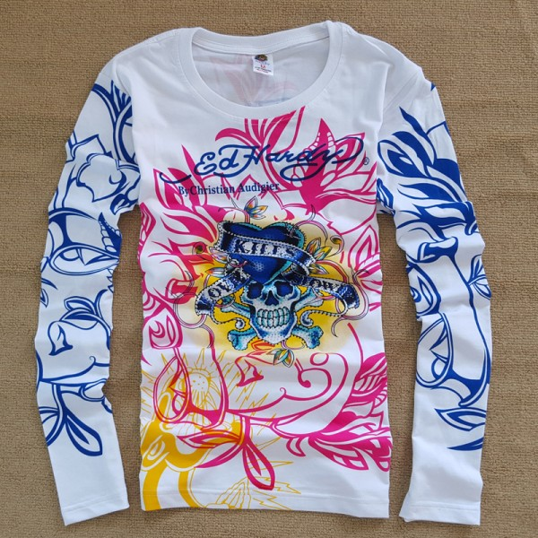 ED Hardy Mens Long Sleeve T Shirt Love Kill Slowly White