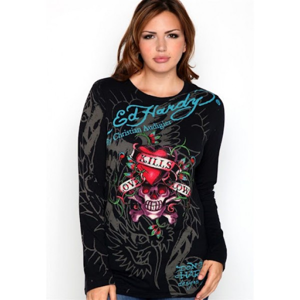 Ed Hardy Long Sleeve Black For Women Clothing Store