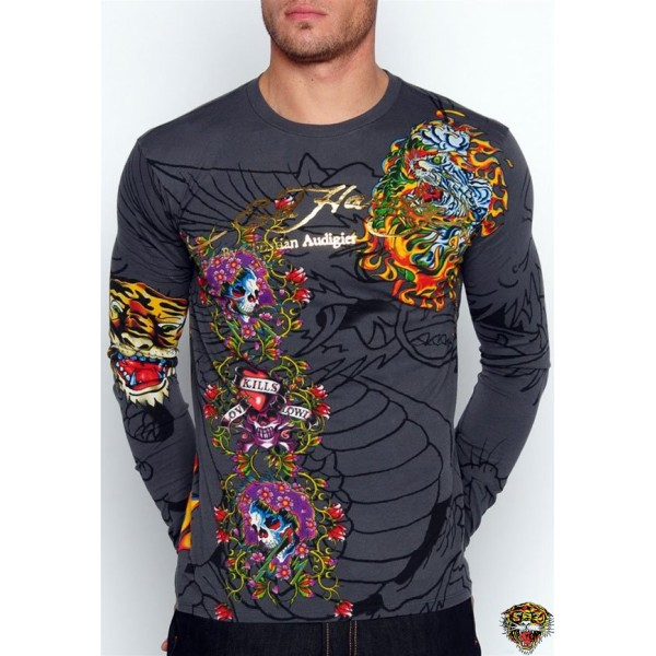 Ed Hardy Long Sleeve Blend Grey For Men