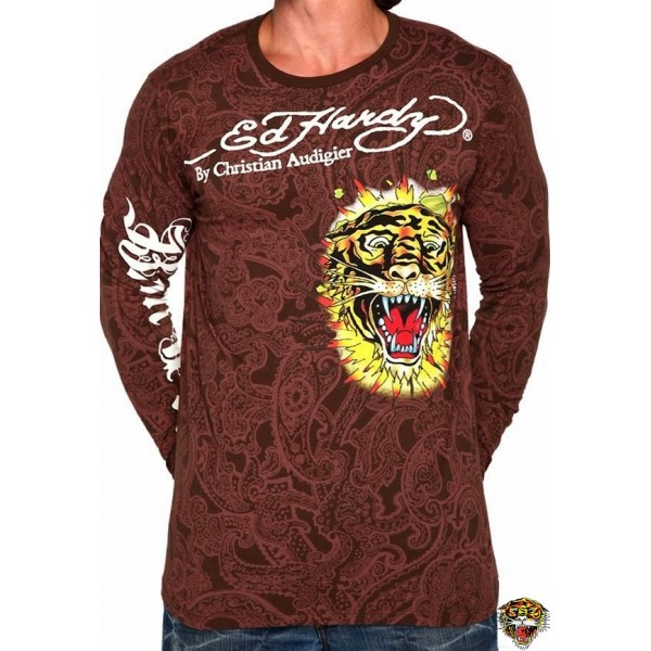 Ed Hardy Long Sleeve Broken Skull Brown For Men