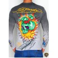 Ed Hardy Long Sleeve Broken Skull Grey For Men