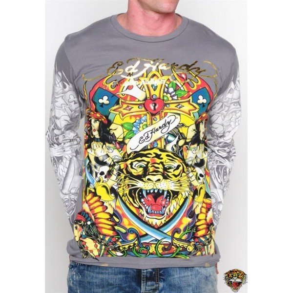 Ed Hardy Long Sleeve Cross Tiger Grey For Men