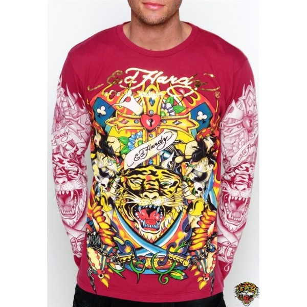 Ed Hardy Long Sleeve Cross Tiger Red For Men