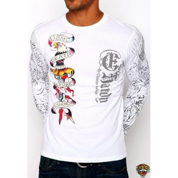 Ed Hardy Long Sleeve Dagger White For Men