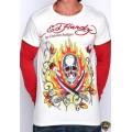 Ed Hardy Long Sleeve Flame Skull White Red For Men
