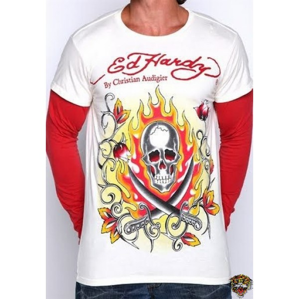 Ed Hardy Long Sleeve Flame Skull White Red For Men