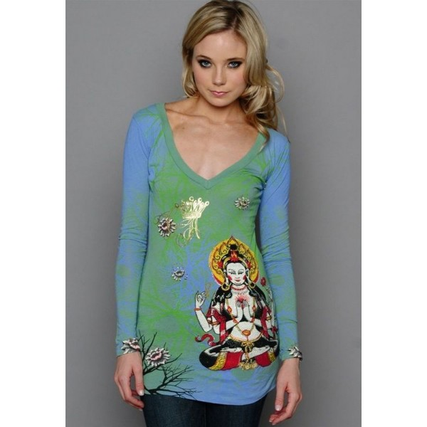 Ed Hardy Long Sleeve Green Christian Audigier Womens