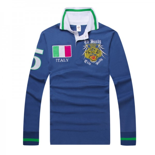 Ed Hardy Long Sleeve Italy Blue For Men