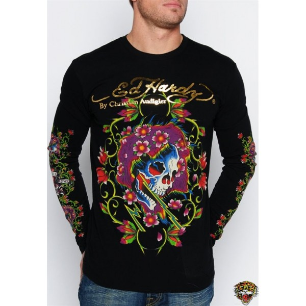 Ed Hardy Long Sleeve Love Life Black For Men