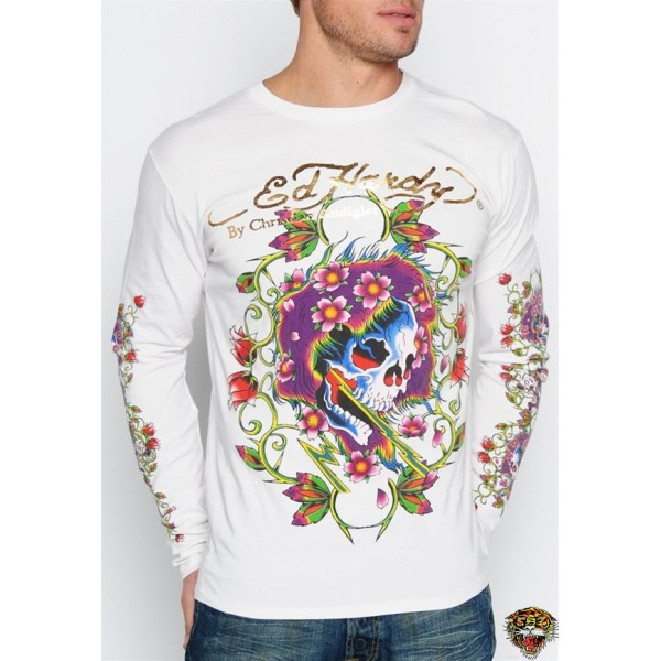Ed Hardy Long Sleeve Love Life White For Men